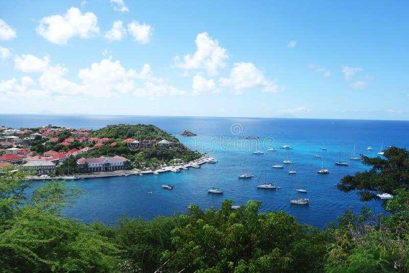 Gustavia hamn, St. Barths, franska västra indies royaltyfri foto