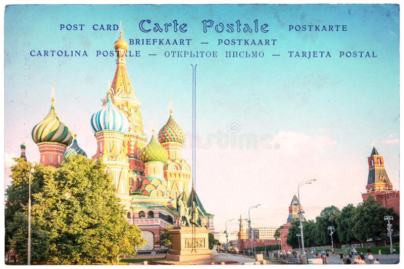 St Basil cathedral in Moscow, Russia, collage on vintage postcard background, word postcard in several languages royalty free stock images