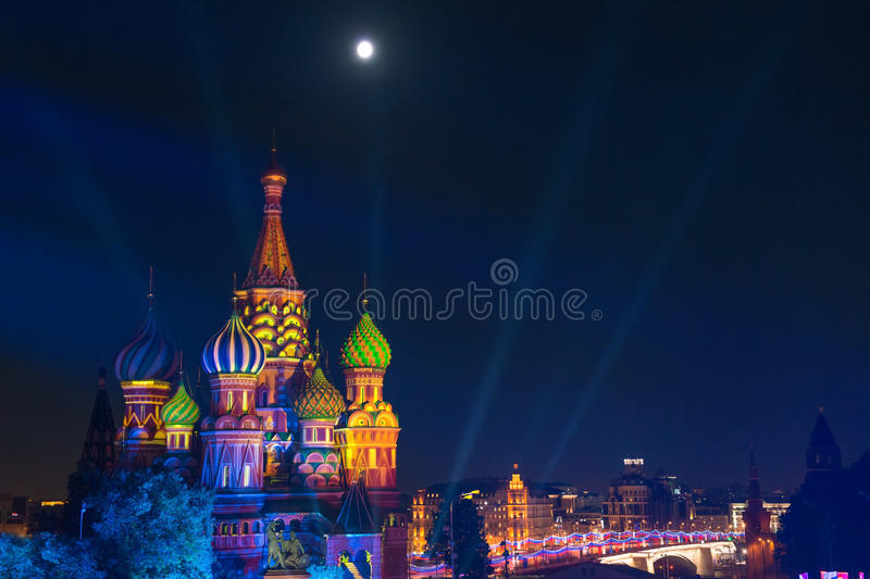 St. Basil Cathedral at night in Red Square stock image