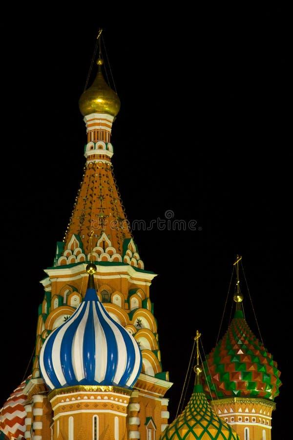 St.Basil detail bij nacht stock afbeeldingen