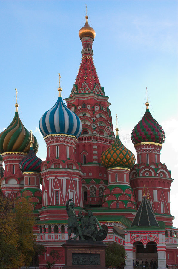 St. Basil's Cathedral at autumn stock images