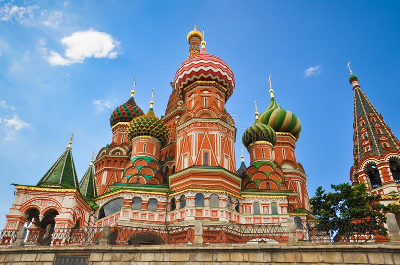 St. Basil`s Cathedral - church on Red Square in Moscow, the oldest architectural monument. Multicolored colorful domes. royalty free stock photography