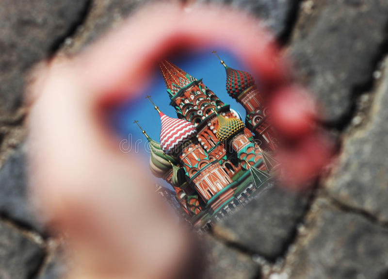 St. Basil's Cathedral in the mirror stock images