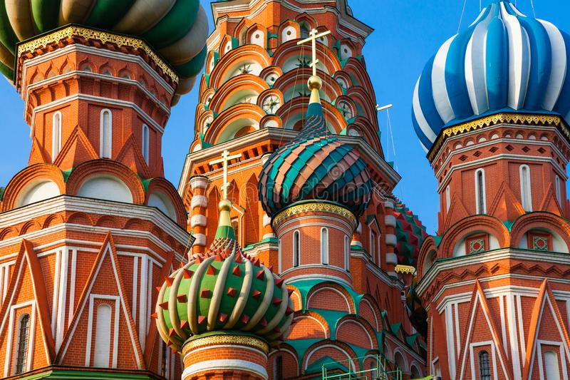 St. Basil`s Cathedral in the morning, Moscow, Russia stock image