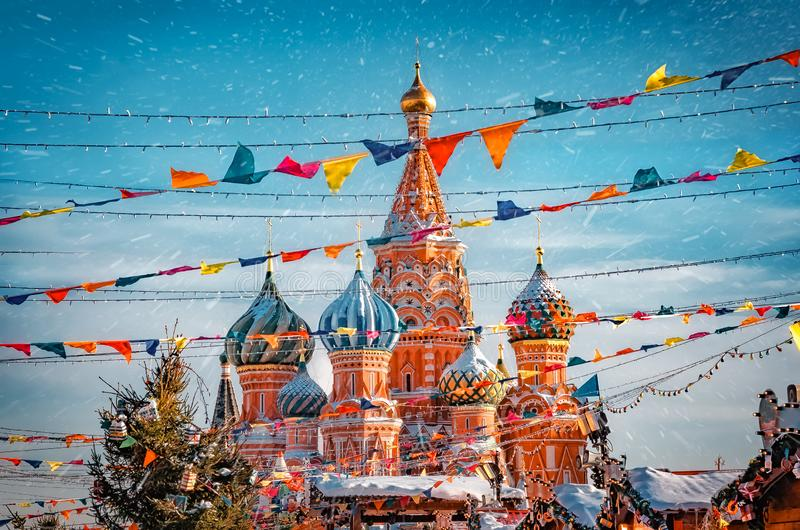 St. Basil`s Cathedral in Moscow Kremlin on Red Square. Decorated Red Square in Chrismastide and New Year time royalty free stock photos