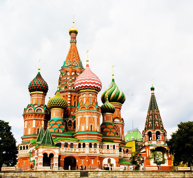 St Basil's Cathedral, Moscow, Russia. The Cathedral of Intercession of the Virgin on the Moat - The Cathedral of the Protection of the Mother of God, or simply stock photos