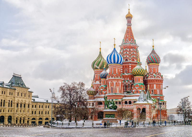 St. Basil`s Cathedral in Moscow, winter view royalty free stock photos