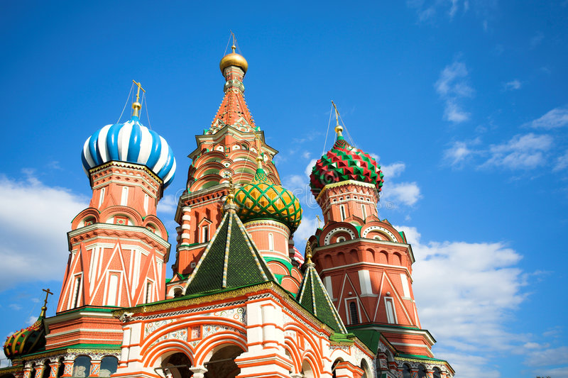 St. Basil's Cathedral on Red square stock images