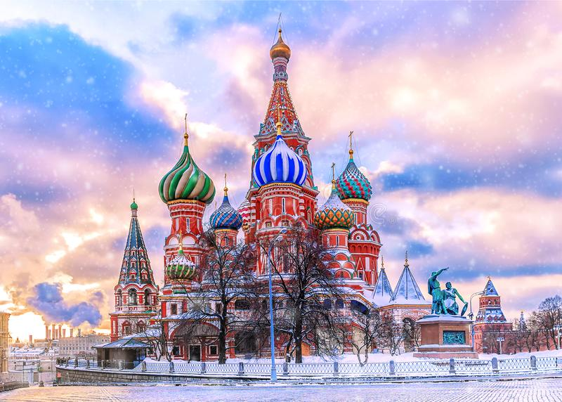 St. Basil`s Cathedral on Red Square in Moscow.  royalty free stock photo
