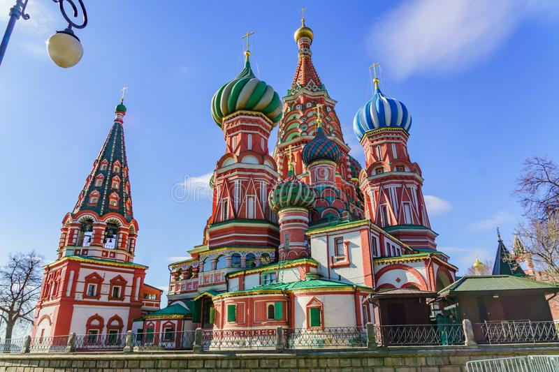 St Basil`s cathedral on Red Square in Moscow stock image