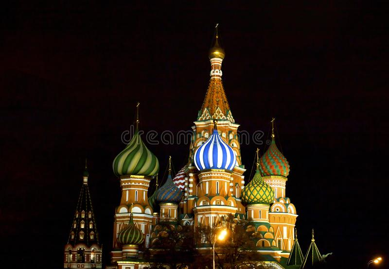 St. Basil`s Cathedral on Red Square in Moscow. Night illumination stock images