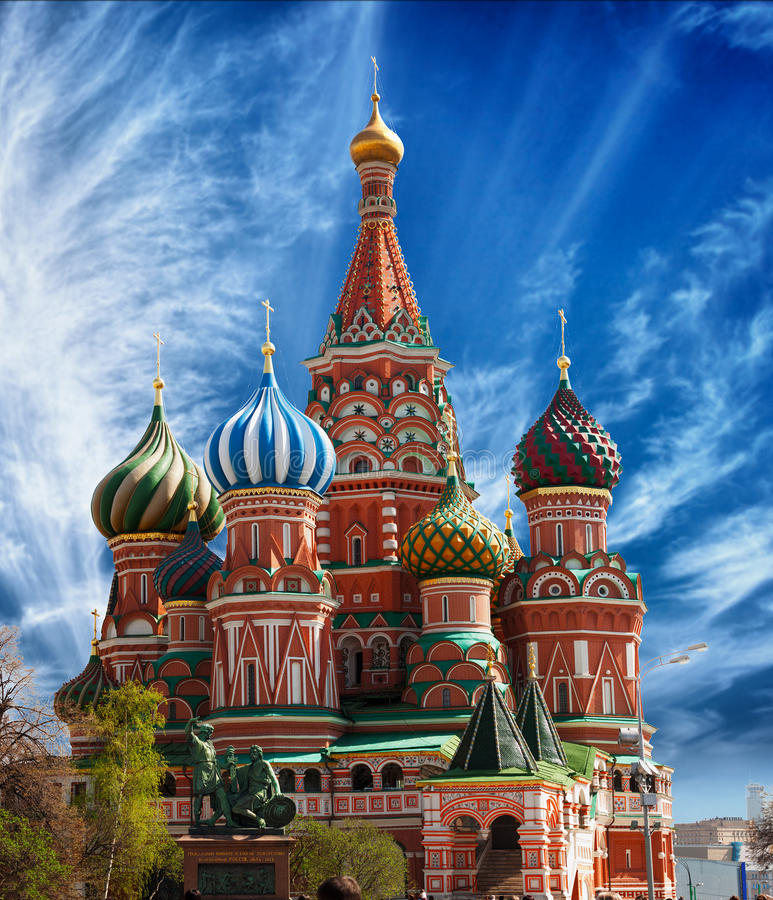 St. Basil's Cathedral on Red Square in Moscow royalty free stock photos