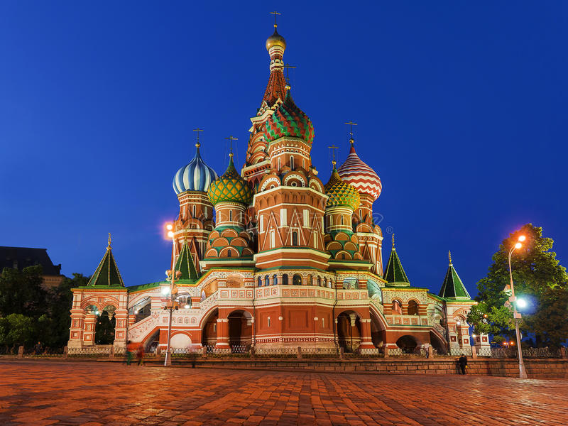 St. Basil's Cathedral on Red Square in Moscow, Russia. (Night vi stock image