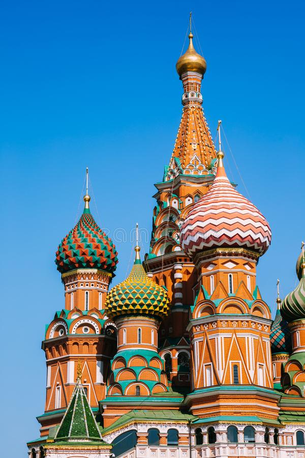 St. Basil`s Cathedral on red square in Moscow, Russia. Historic architecture royalty free stock photography