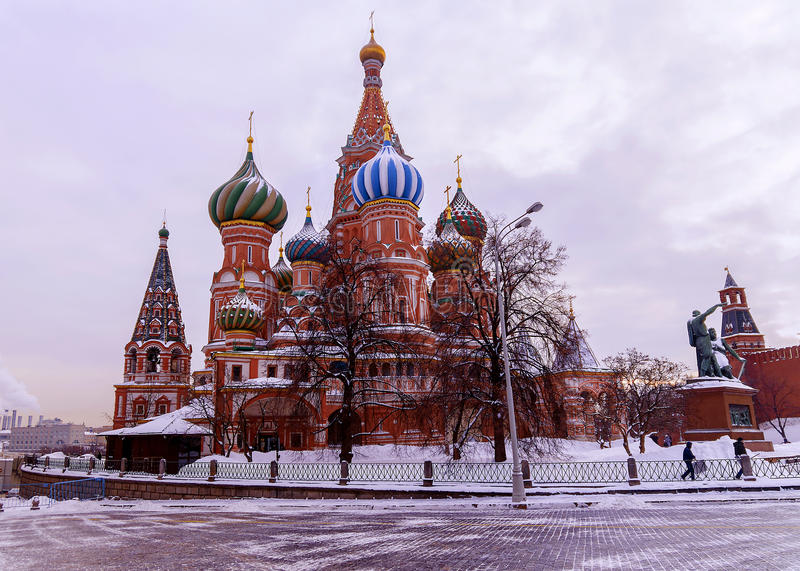 St. Basil's Cathedral on Red Square in winter. St. Basil's Cathedral on Red Square in Moscow in winter stock photo