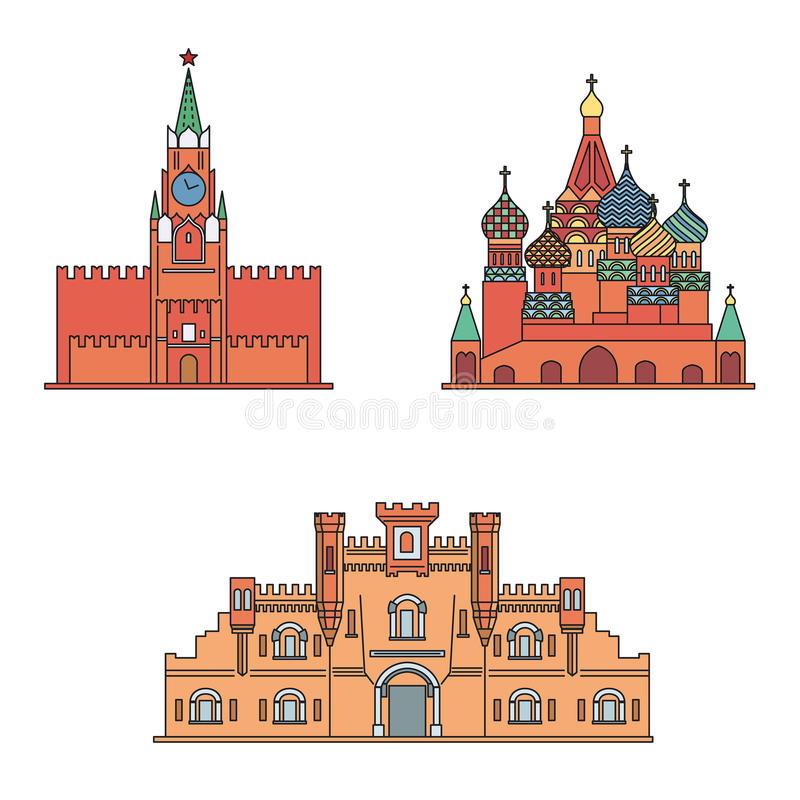 St Basil`s Cathedral, Spasskaya tower of the Moscow Kremlin, Brest Fortress building. Vector illustration. Russian fortress building. St Basil`s Cathedral vector illustration