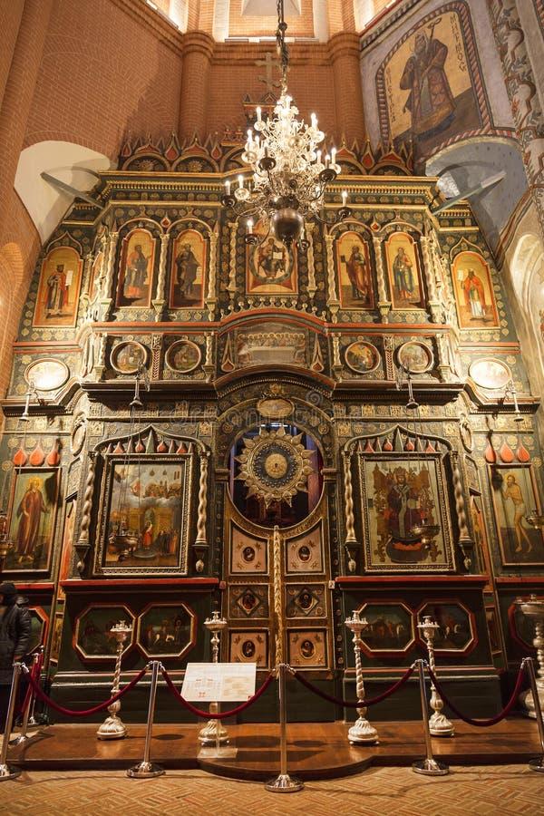 St Basilicum` s Kathedraal op Rood vierkant in Moskou Iconostasis van de Kerk van de Interventie van heilige maagdelijke Mary, Ce royalty-vrije stock fotografie
