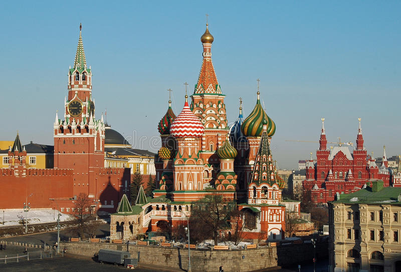 St Basilicumkathedraal & het Kremlin, Moskou, Rusland royalty-vrije stock afbeelding