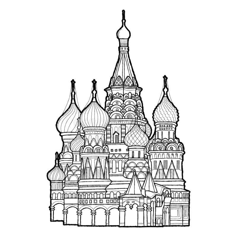 St-basilikas domkyrka, röd fyrkant, Moskva, Ryssland: Konst för tecknad film för gränsmärke för vektorillustrationhand utdragen royaltyfri illustrationer