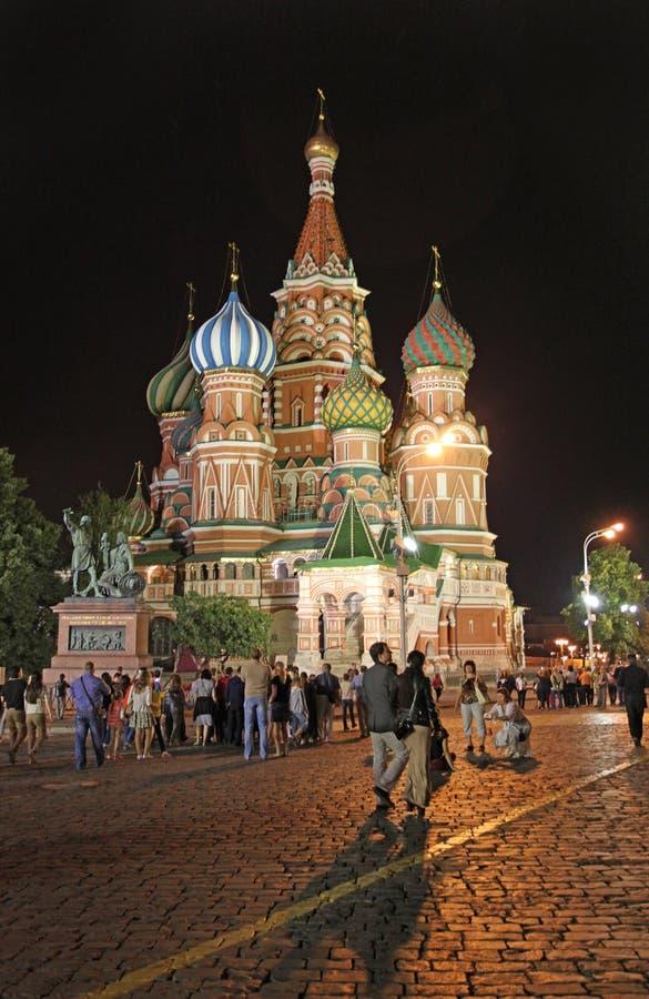 St basilu katedra nocą, Moskwa zdjęcie royalty free