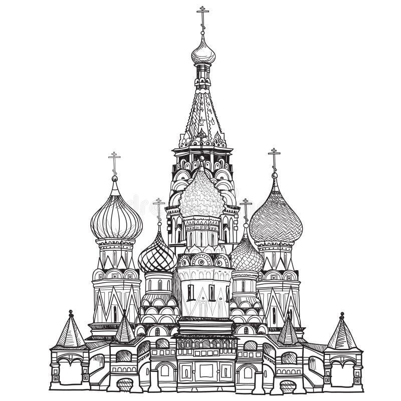 St basilu katedra, plac czerwony, Moskwa, Rosja. Wektorowa ilustracja odizolowywająca na białym tle. royalty ilustracja