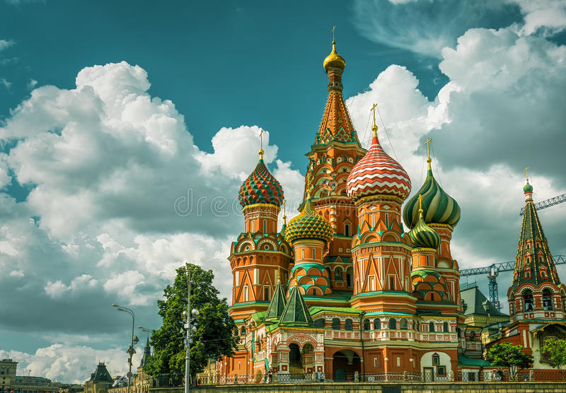 St basilu ` s katedra w Moskwa fotografia royalty free