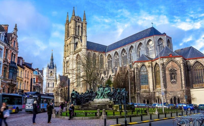 St Bavo Kathedraal, Gent stock afbeeldingen
