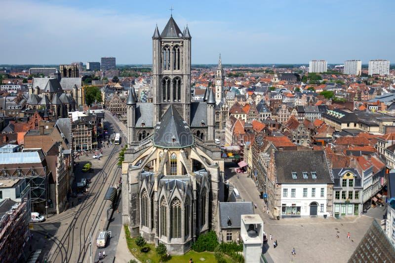 St. Bavos Cathedral of Gent Belgium arkivfoto