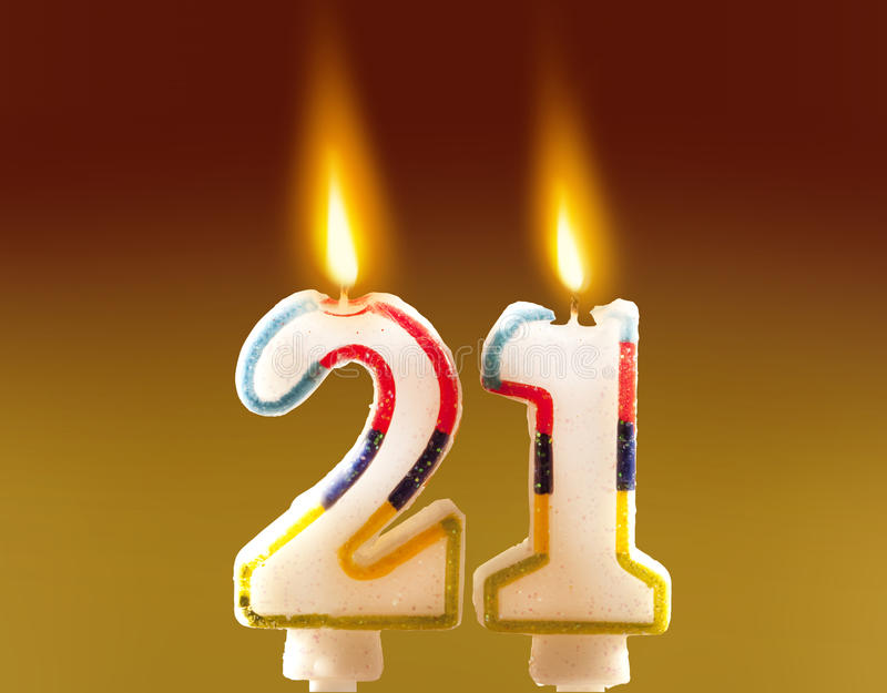 21st Birthday - Candles. On a cake royalty free stock images