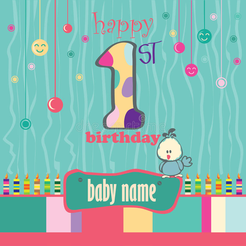 1st Birthday Greeting Card. For Baby royalty free illustration
