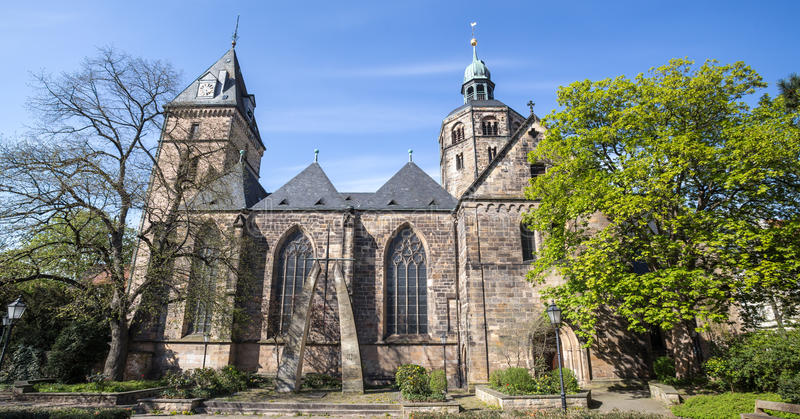 St bonfiatius church hameln germany. The st bonfiatius church hameln germany stock photo