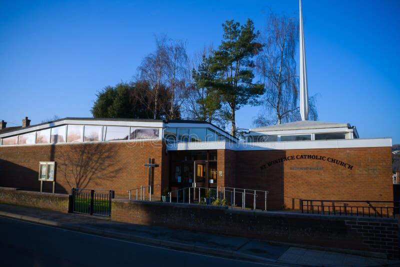 St. Boniface Catholic Church Building in Crediton, Devon, das Vereinigte Königreich, am 13. November 2018 stockbilder
