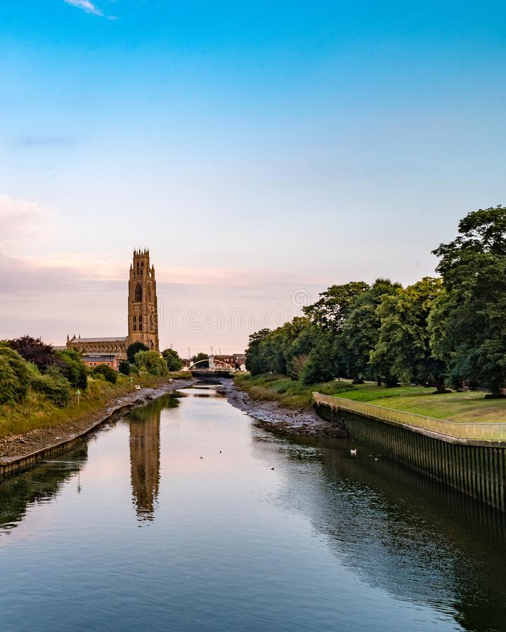 St. Botolph`s Church in Boston, England. St. Botolph`s Church on the River Great Ouse in Boston, England, United Kingdom stock images
