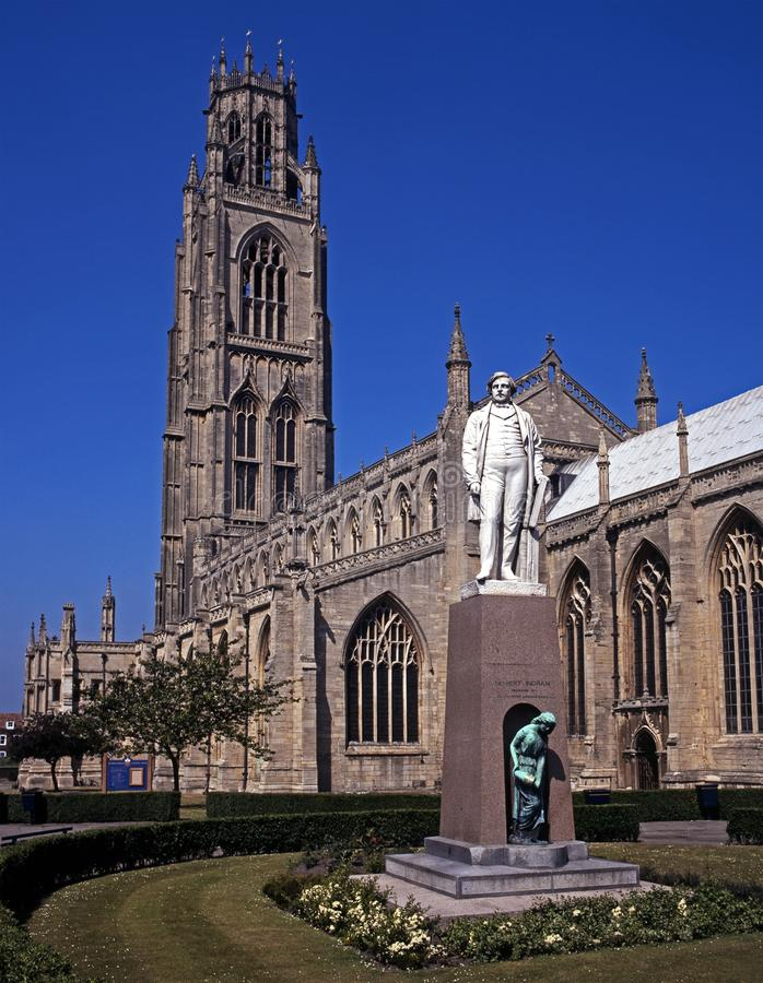 St Botolphs Church, Boston, UK. Statue of Herbert Ingram in front of St. Botolph's Church, Boston, Lincolnshire, England, UK, Western Europe stock images