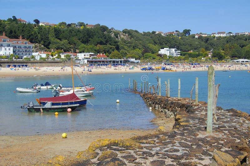 St. Brelade Habour y playa, Jersey foto de archivo libre de regalías
