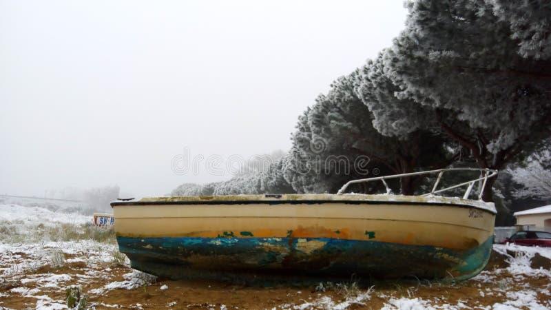 St brevin小船海滩沙子 免版税库存图片