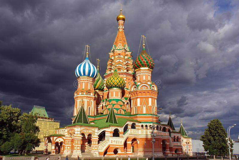 St. Catedral da manjericão, quadrado vermelho, Moscovo imagem de stock