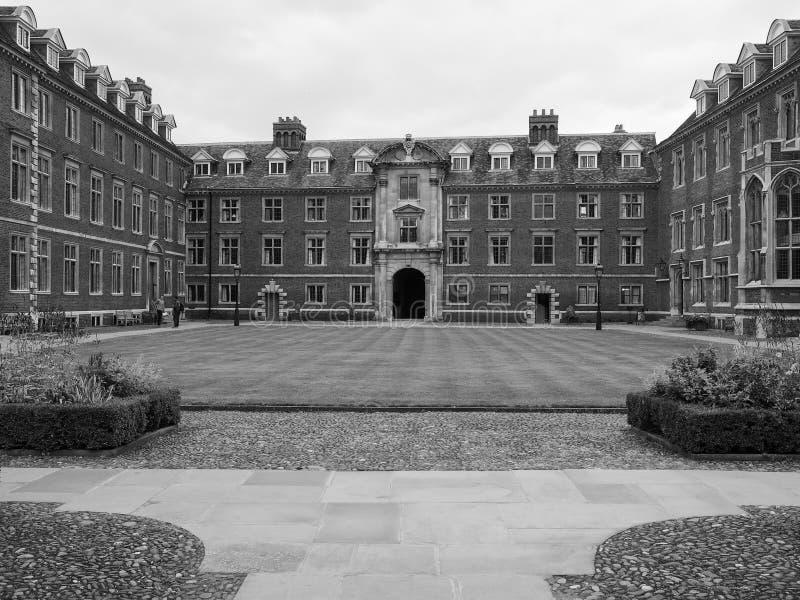 St Catharine Universiteit in Cambridge in zwart-wit royalty-vrije stock afbeeldingen
