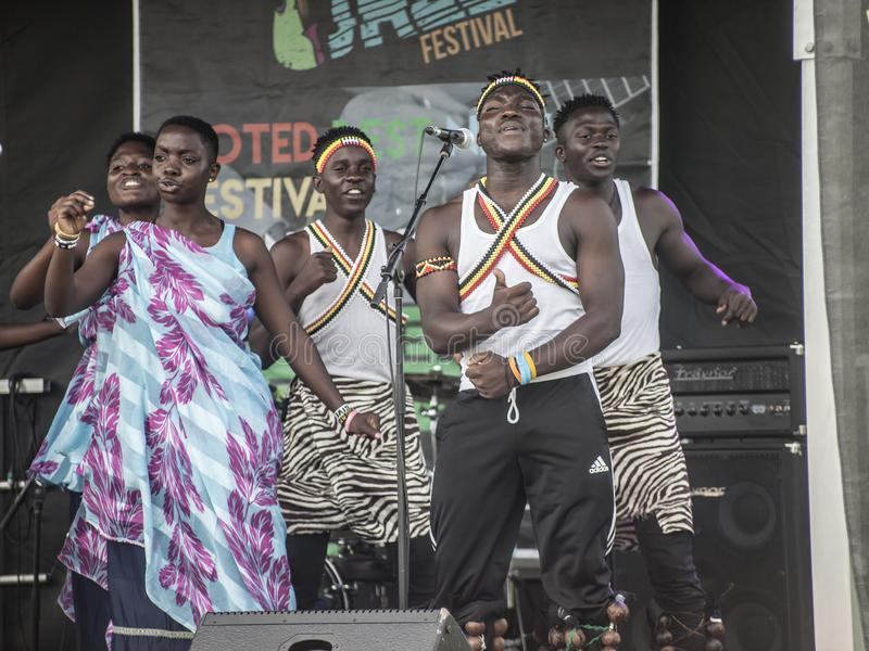 ST.Catharines/Canada/07-21-2019 THE TD NIAGARA JAZZ FESTIVAL, NEEMA CHILDREN`S CHOIR. A group of children performs African folk music THE TD NIAGARA JAZZ stock images