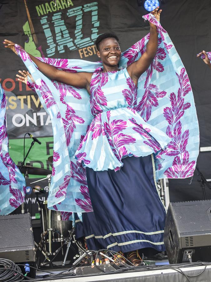 ST.Catharines/Canada/07-21-2019 THE TD NIAGARA JAZZ FESTIVAL, NEEMA CHILDREN`S CHOIR. A group of children performs African folk music THE TD NIAGARA JAZZ stock photography