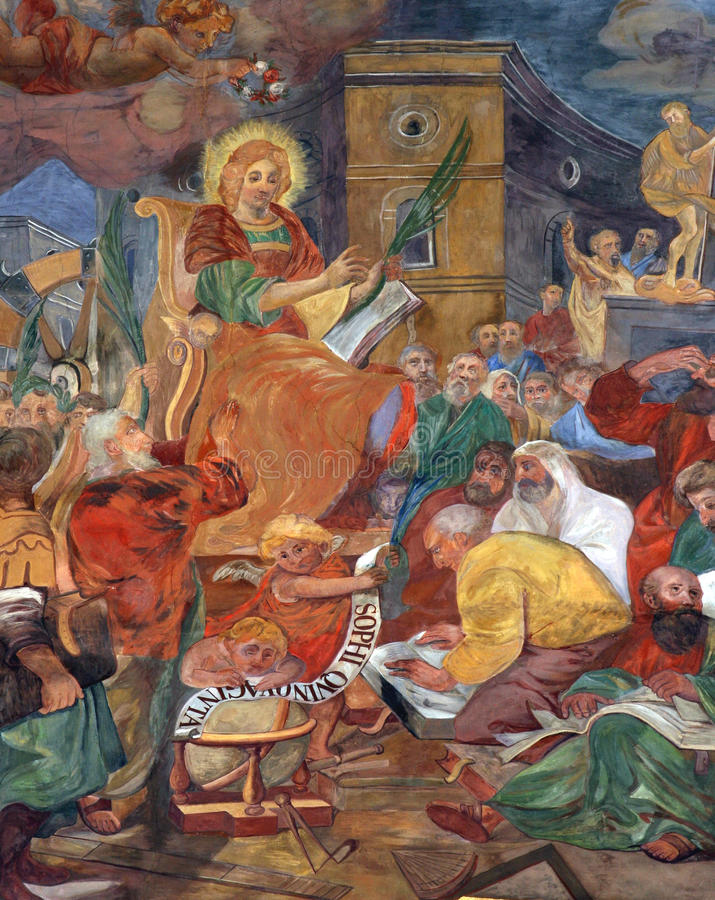 St. Catherine discusses with philosophers. Fresco painting in the church stock images