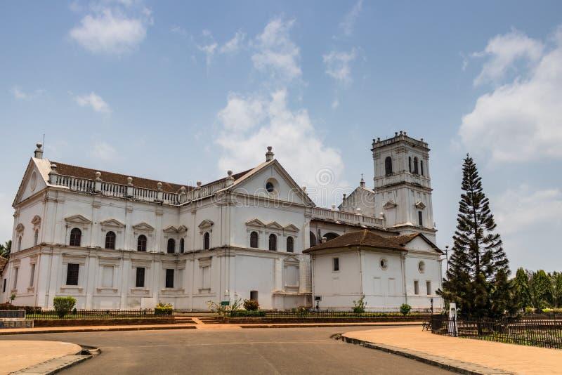 St Catherine katedra, Stary Goa, India w słonecznym dniu Kościół Katolicki zdjęcia royalty free