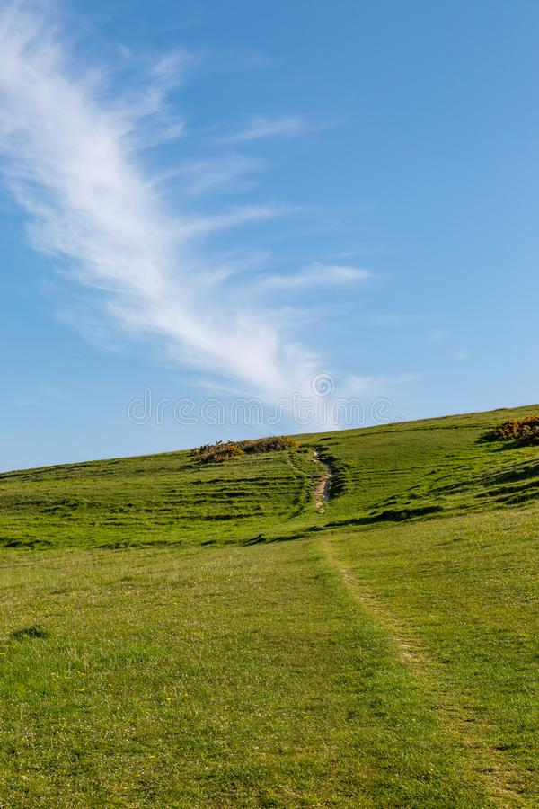 St Catherine`s Hill, Isle of Wight. A pathway on St Catherine`s Down on the Isle of Wight, on a sunny morning stock images