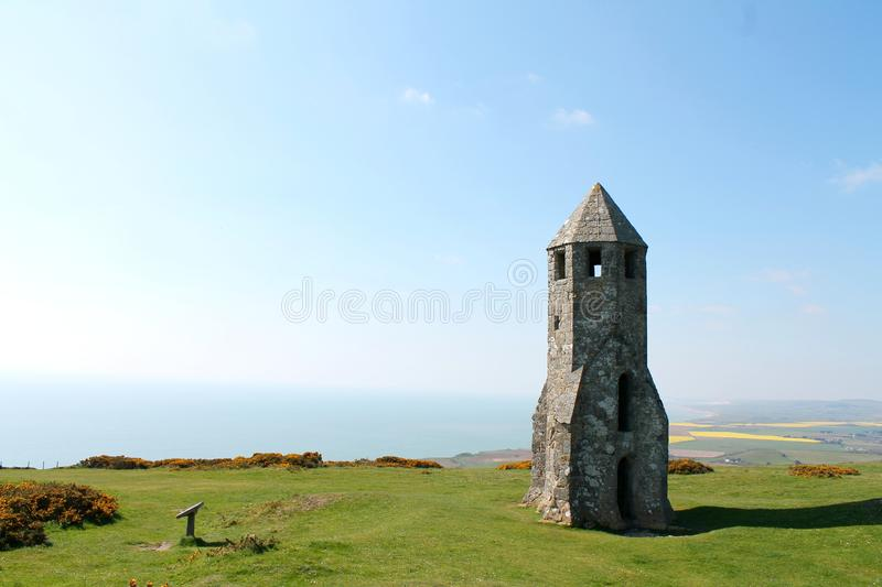 St Catherine`s Oratory, Isle of Wight, UK. View of St Catherine`s Oratory overlooking the sea and blue sky on the Isle of Wight, UK. Remnants of old church known royalty free stock photography