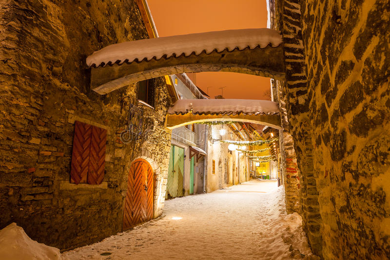 St. Catherine`s Passage - a small historic street in Tallinn, Estonia.  stock images