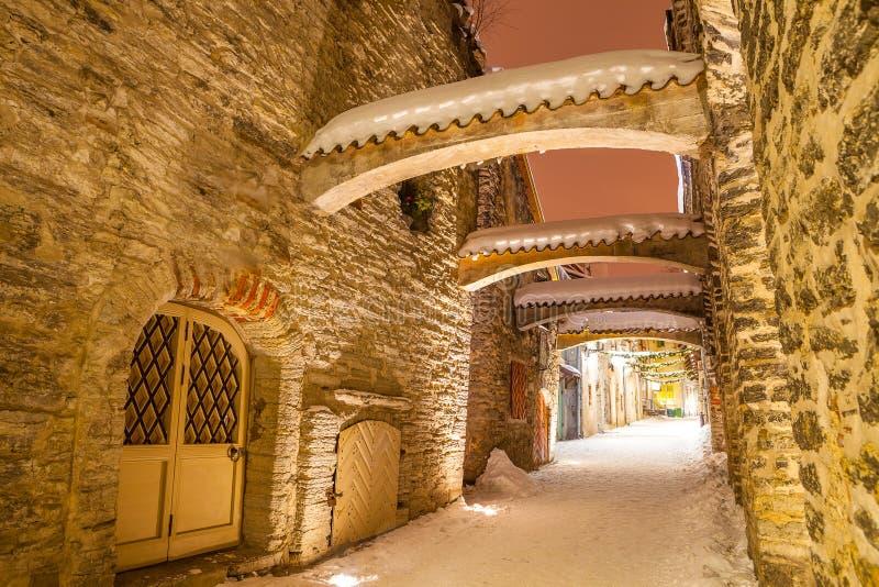 St. Catherine`s Passage - a small historic street in Tallinn, Estonia.  royalty free stock photography