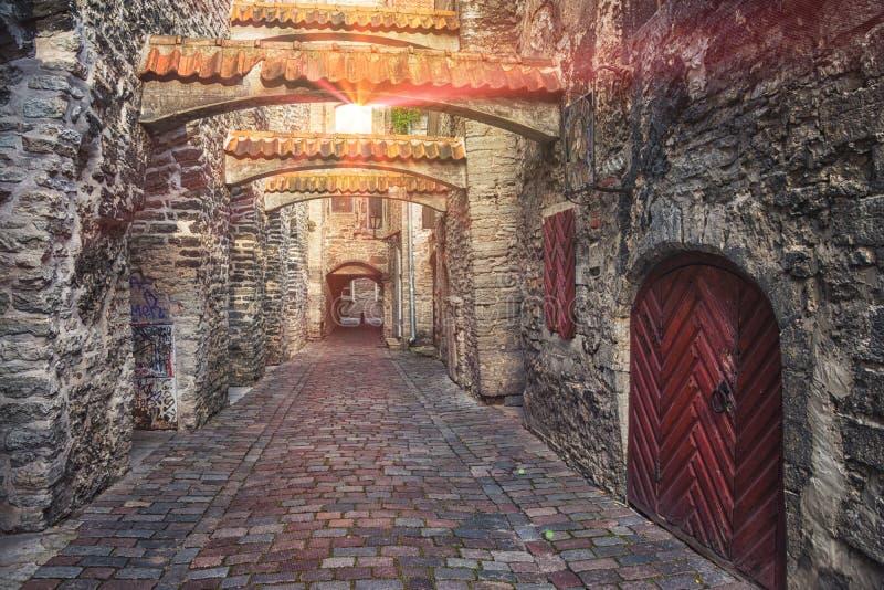 St. Catherine's Passage in Tallinn, Estonia stock images