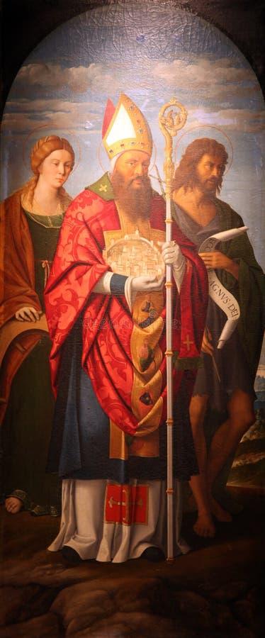 St Catherine van Alexandrië, St Quirinus, en John Doopsgezind royalty-vrije stock afbeelding