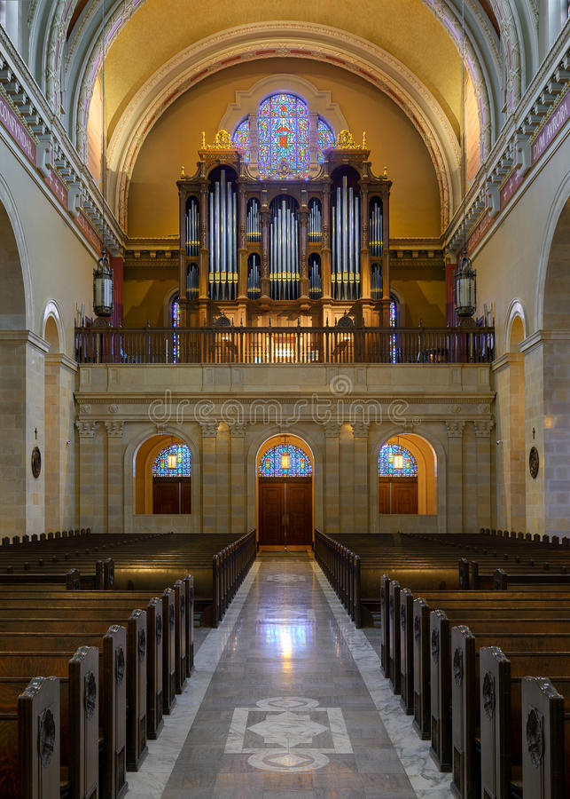St. Cecilia Cathedral. Pipe organ in the back of the Saint Cecilia Cathedral in Omaha, Nebraska stock photos