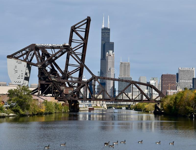St. Charles Air Line Bridge. This is a Fall picture of the St. Charles Air Line railroad bridge over the South branch of the Chicago River located in the stock images